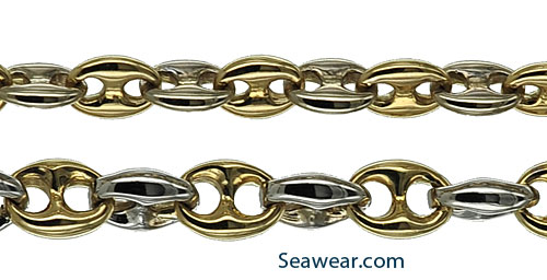 14kt puffed anchor link chain in white or yellow gold