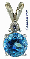 Stuller white gold pendant with swiss blue topaz and white topaz