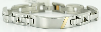 Medical ID bracelet in 14kt and stainless steel