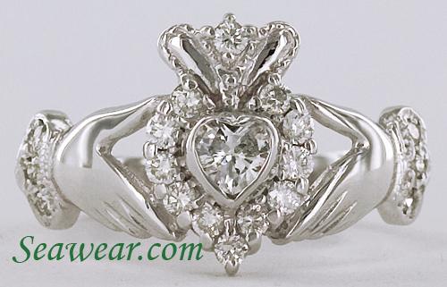 emerald heart diamond claddagh ring. Black Bedroom Furniture Sets. Home Design Ideas