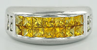 clearance diamond and yellow sapphire white gold ring