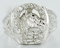 white gold diamond horse and horseshoe ring