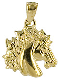 14k gold might horse necklace jewelry pendant