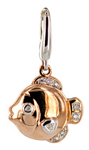 14kt rose gold and diamond fish necklace