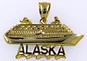 14kt Alaska cruise ship necklace pendant