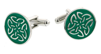green enamel Celtic knot cufflinks