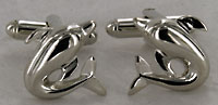 silver tone dolphin porpoise cufflinks