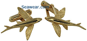14k gold flying fish cufflinks