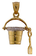 14kt gold beach pail and shovel jewelry charm with VS diamonds