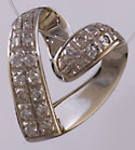 14kt white gold diamond Claddagh heart slide