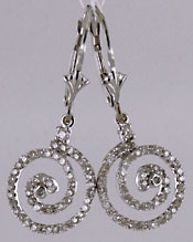 14kt white gold Newgrange spiral diamond earrings