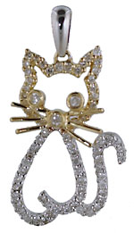 14kt two tone gold diamond cat pendant