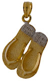 14k double flip flop necklace pendant with .10cts of VS diamonds, 12 in all!