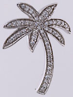 14kt white gold diamond palm tree pendant