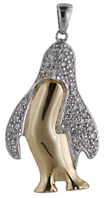 14kt penguin with .20cts of diamonds
