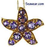 gold amethyst starfish necklace