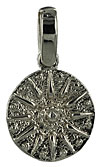 14k white gold compass rose sun dial necklace charm jewelry