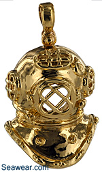 14kt gold Mark V dive helmet jewelry pendants