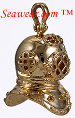 14kt 3D full round Mark V dive bell helmet
