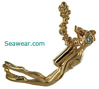 female gold scuba diver pendant