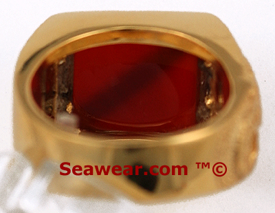 underside showing carnelian stone in scuba diver ring