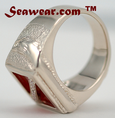 14kt white gold scuba diver down ring