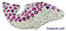 18kt white gold diamond and ruby dolphin porpoise jewelry brooch