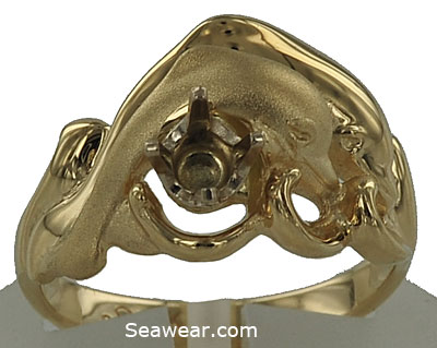 twin dolphins engagement ring