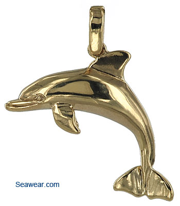 ee1effd3e 14k gold half round dolphin necklace pendant