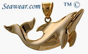 14kt polished dolphin pendant