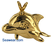 14kt gold dolphin princess jewelry necklace pendant