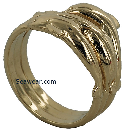 large triple dolphin family ring top and bottom dolphin swimming one way with the center - Dolphin Wedding Rings