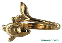 14k gold dolphin wrap ring