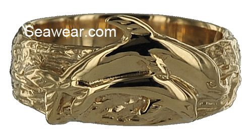 dolphin couple wedding band with textured waves ring - Dolphin Wedding Rings