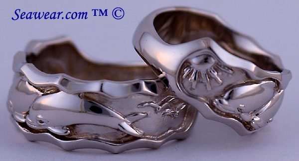 white gold dolphin wedding rings