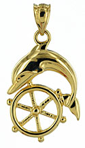 14kt dolphin and ships wheel pendant