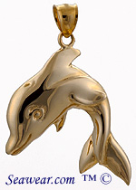 "14kt dolphin pendant with 'heres looking at you"" eyes!"