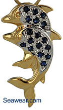 14kt gold dolphins with sapphires