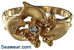 three dolphin diamond ring
