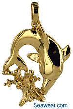 Splish Splash dolphin leaping from water necklace jewelry pendant