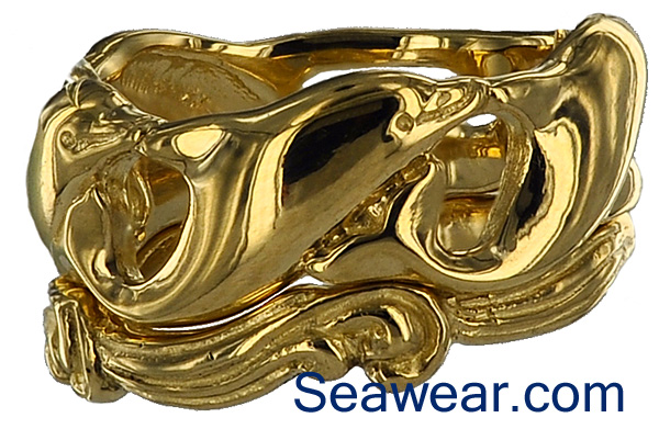 swimming dolphins on ocean waves wedding band