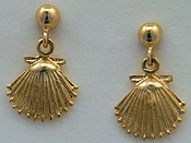 ball drop dangle scallop shell earrings