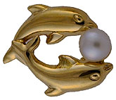 14kt double dolphin and pearl earrings