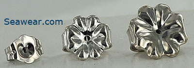 14kt white gold ear nuts for post earrings