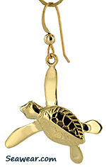 Peter Costello swimmer sea turtle earrings