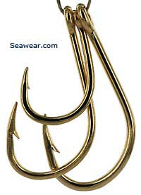 14kt gold live bait fish hook jewelry