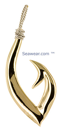 biggest bassadest tribal fish hook in 14kt gold