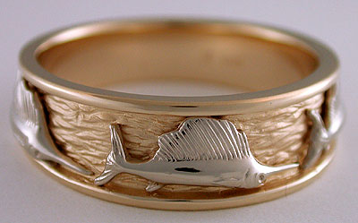 Triple Sailfish Ring In Two Tone 14k Gold