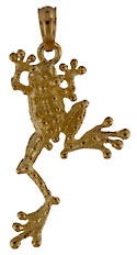 14kt small tree frog pendant