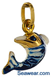 tribal Hawaiian dolphin jewelry with enamel highlights